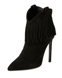 Suede Fringe High Heel Bootie Black Saint Laurent