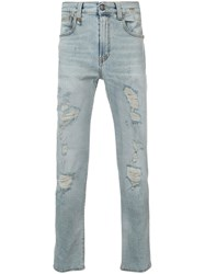 R 13 R13 Distressed Skinny Jeans Cotton Blue