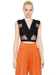 Balmain Draped Cropped Tulle And Jersey Top