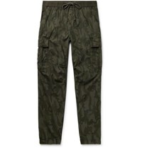 James Perse Tapered Camouflage Print Cotton Ripstop Cargo Trousers Army Green