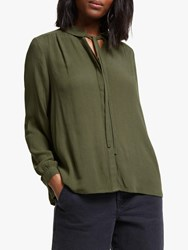 John Lewis Collection Weekend By Easy Tie Neck Blouse Khaki