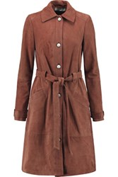 Elizabeth And James Whitley Belted Suede Trench Coat Brown