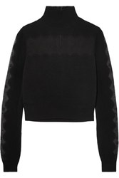 Alexander Mcqueen Lace Paneled Ribbed Knit Turtleneck Sweater Black