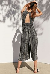 Ecote Plunging Striped Culotte Jumpsuit Black And White