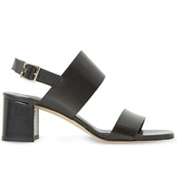 Dune Jester Leather Heeled Sandals Black Leather