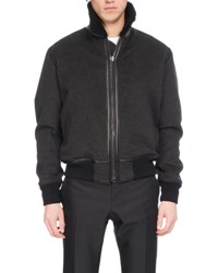 Berluti Felt Bomber Jacket With Shearling And Alligator Trim Dark Gray