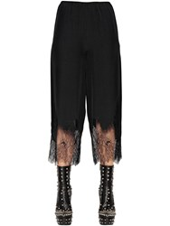 Mcq By Alexander Mcqueen Silk Crepe Pants W Lace Hem