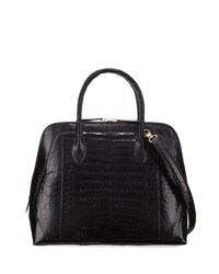 Nancy Gonzalez Medium Dome Crocodile Satchel Bag Navy