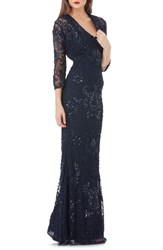 Js Collections Soutache Mermaid Gown With Bolero Navy