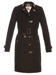 Burberry Sandringham Long Cotton Gabardine Trench Coat Black
