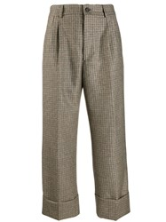 Berwich Checked Wide Leg Trousers Neutrals