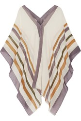 Eres Striped Cotton And Cashmere Blend Gauze Poncho Off White