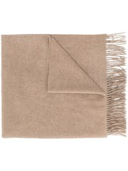 Pringle Of Scotland Fringed Scarf Cashmere Brown