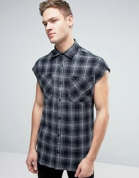 Jack And Jones Originals Sleeveless Checked Shirt In Oversized Fit Black
