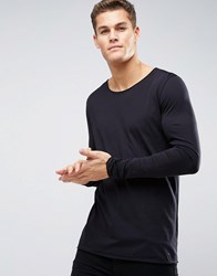 Hugo By Boss Doops Long Sleeve Top Scoop Neck Raw Edge Black