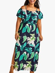 Yumi Curves Palm Print Maxi Dress With Side Splits Navy Multi