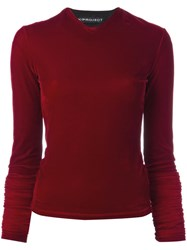Y Project Extended Sleeve Velvet Top Red
