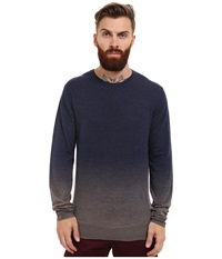 French Connection Dip Dye Aston Knits Marine Blue Alloy Men's Sweater Black