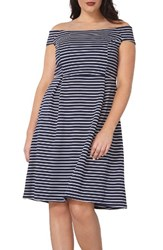 Dorothy Perkins Plus Size Women's Off The Shoulder Stretch Knit Dress Navy