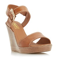 Dune Kamella Stab Stitch Wedge Shoes Tan