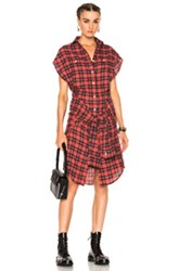 R 13 R13 Wrap Dress In Checkered And Plaid Red Checkered And Plaid Red