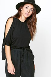 Boohoo Tie Sleeve Oversized T Shirt Black