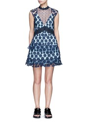 Self Portrait '60'S Overlay' Floral Lace Tiered Dress Blue