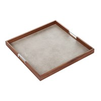 Alexander James Walnut Tray With Smoke Faux Shagreen Base 50X50cm