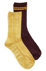 Treasure And Bond Soft Shine 2 Pack Crew Socks Burgundy Fig Multi
