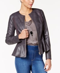 Thalia Sodi Faux Leather Peplum Jacket Only At Macy's Grey