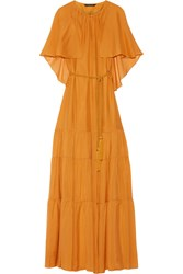 Rachel Zoe Melina Cape Effect Silk Chiffon Maxi Dress Saffron