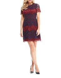 Maggy London Scalloped Lace Overlay Dress Wine Navy