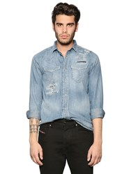 Diesel Destroyed Washed Denim Western Shirt