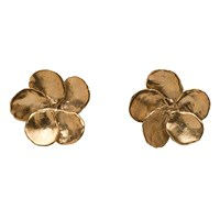 Brass Fusion Pearl Impression Flower Earrings Silver