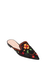 Alberta Ferretti 10Mm Embroidered And Beaded Satin Mules