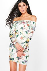 Boohoo Xenia Printed Off Shoulder Bodycon Dress Cream