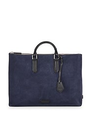 Uri Minkoff Devin Perforated Suede Tote Navy