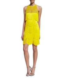 Naeem Khan Beaded Fringe Sleeveless Cocktail Dress Yellow