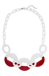 Natasha Resin Link Necklace White Red