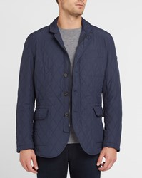 Hackett Navy Kinlock Suede Elbow Patches And Collar Quilted Jacket Blue