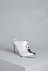 Forever 21 Metallic Backless Ankle Boots Silver