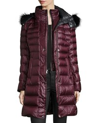 Andrew Marc New York Channel Quilted Coat W Fur Trim Hood Women's Marsala