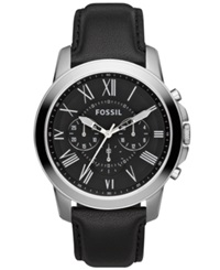 Fossil Men's Chronograph Grant Black Leather Strap Watch 44Mm Fs4812