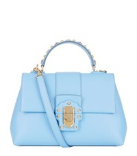 Dolce And Gabbana Medium Lucia Studded Top Handle Bag Female Blue