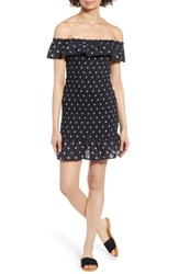 The Fifth Label Fiesta Daisy Print Smocked Off Shoulder Dress Black With White Daisy