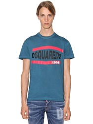 Dsquared Printed Cool Guy Cotton Jersey T Shirt Blue