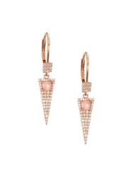 Meira T Rose Quartz Pink Mother Of Pearl Diamond And 14K Rose Gold Triangle Drop Earrings