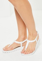 Missguided White Studded T Bar Sandals