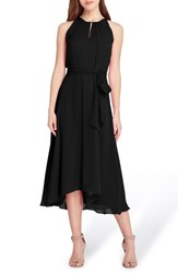 Tahari Sleeveless Chiffon Midi Dress Black