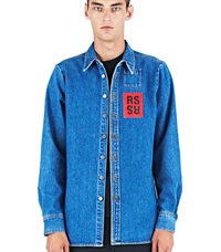 Raf Simons Washed Denim Shirt Blue